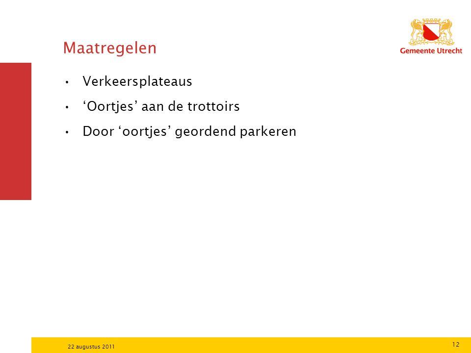 12 22 augustus 2011 Maatregelen Verkeersplateaus 'Oortjes' aan de trottoirs Door 'oortjes' geordend parkeren
