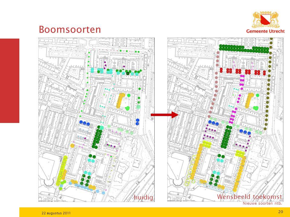 20 22 augustus 2011 Boomsoorten huidig Wensbeeld toekomst Nieuwe soorten ntb.