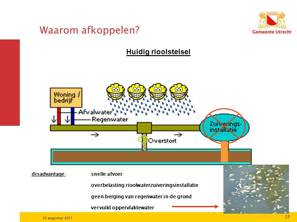 25 22 augustus 2011 Waarom afkoppelen? Huidig rioolstelsel  disadvantage :snelle afvoer overbelasting rioolwaterzuiveringsinstallatie geen berging va