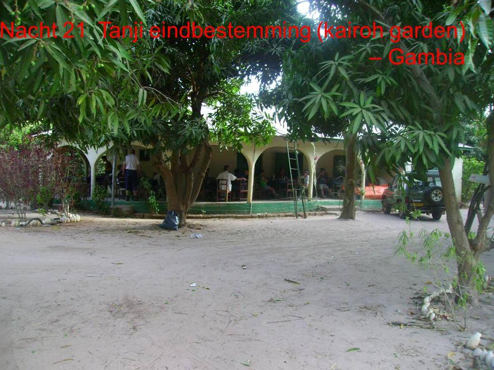 De route Dag 21 Banjul (Tanji ) eindbestemming Dag 20 Dakar Dag 21 Banjul (Tanji eindbestemming) Totaal afstand: 7200 Km