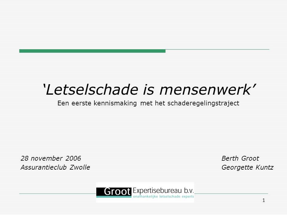 1 'Letselschade is mensenwerk' Een eerste kennismaking met het schaderegelingstraject 28 november 2006 Berth Groot Assurantieclub Zwolle Georgette Kun
