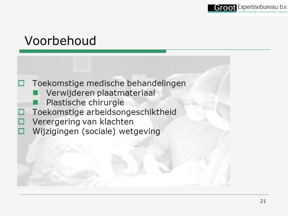 21 Voorbehoud  Toekomstige medische behandelingen Verwijderen plaatmateriaal Plastische chirurgie  Toekomstige arbeidsongeschiktheid  Verergering v