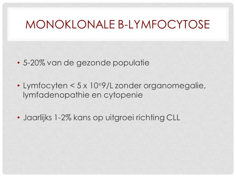 MONOKLONALE B-LYMFOCYTOSE 5-20% van de gezonde populatie Lymfocyten < 5 x 10 e 9/L zonder organomegalie, lymfadenopathie en cytopenie Jaarlijks 1-2% kans op uitgroei richting CLL