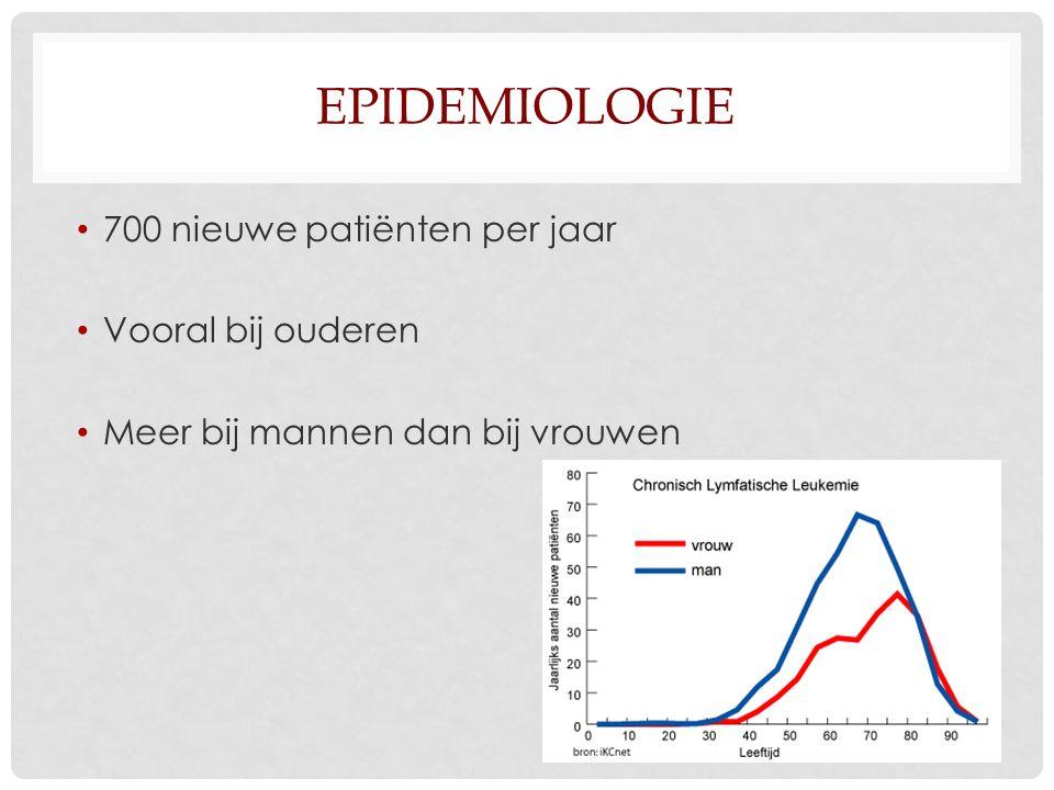 EPIDEMIOLOGIE 700 nieuwe patiënten per jaar Vooral bij ouderen Meer bij mannen dan bij vrouwen