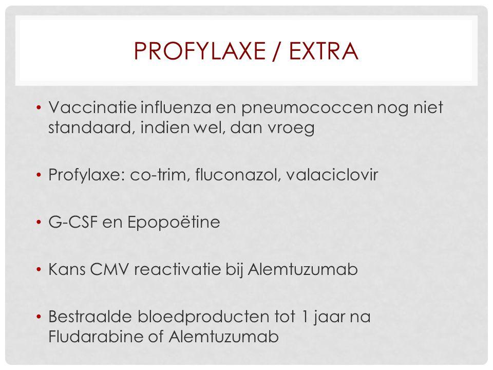 PROFYLAXE / EXTRA Vaccinatie influenza en pneumococcen nog niet standaard, indien wel, dan vroeg Profylaxe: co-trim, fluconazol, valaciclovir G-CSF en Epopoëtine Kans CMV reactivatie bij Alemtuzumab Bestraalde bloedproducten tot 1 jaar na Fludarabine of Alemtuzumab
