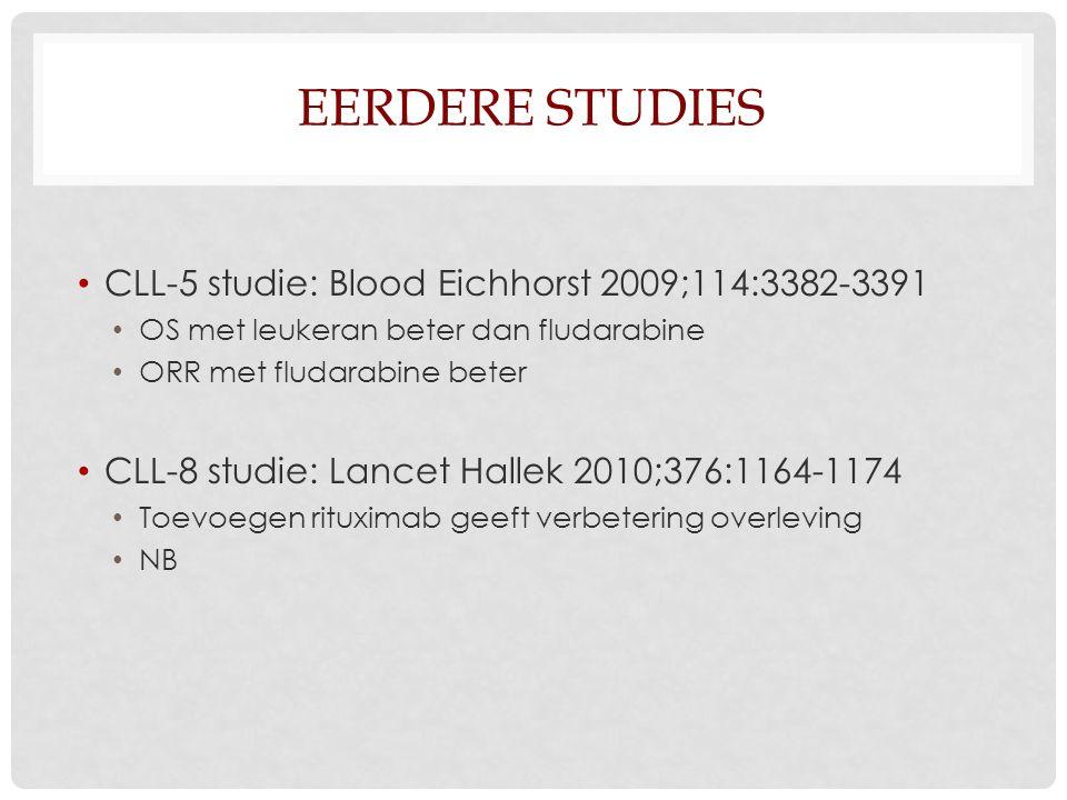 EERDERE STUDIES CLL-5 studie: Blood Eichhorst 2009;114:3382-3391 OS met leukeran beter dan fludarabine ORR met fludarabine beter CLL-8 studie: Lancet Hallek 2010;376:1164-1174 Toevoegen rituximab geeft verbetering overleving NB