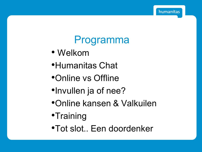 Programma Welkom Humanitas Chat Online vs Offline Invullen ja of nee.