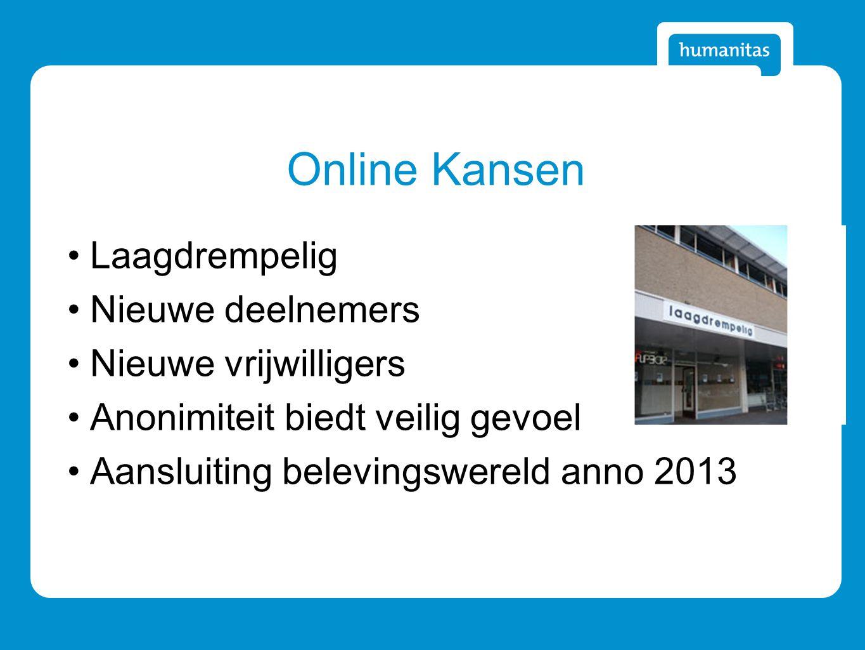 Online Kansen Laagdrempelig Nieuwe deelnemers Nieuwe vrijwilligers Anonimiteit biedt veilig gevoel Aansluiting belevingswereld anno 2013