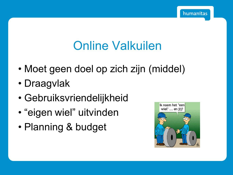 Online Valkuilen Moet geen doel op zich zijn (middel) Draagvlak Gebruiksvriendelijkheid eigen wiel uitvinden Planning & budget