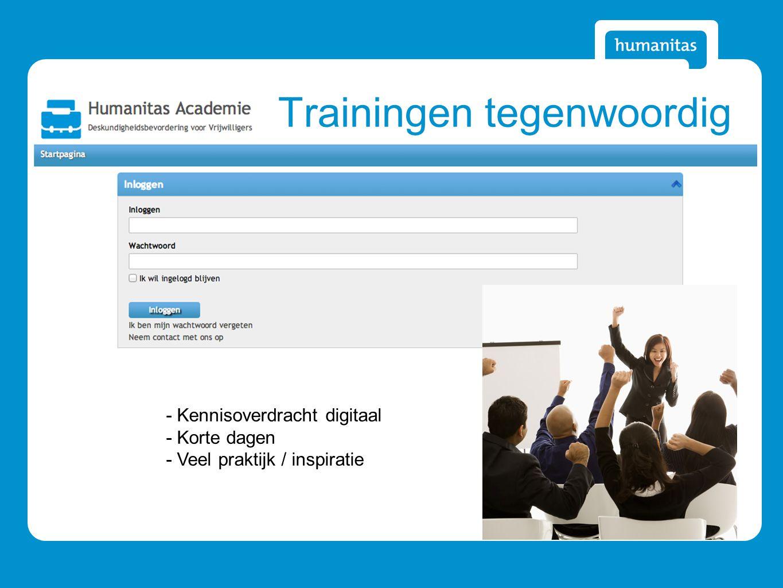Trainingen tegenwoordig - Kennisoverdracht digitaal - Korte dagen - Veel praktijk / inspiratie