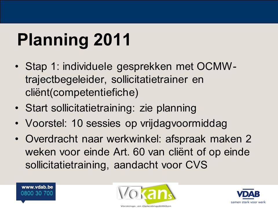 www.vdab.be 0800 30 700 Planning 2011 Stap 1: individuele gesprekken met OCMW- trajectbegeleider, sollicitatietrainer en cliënt(competentiefiche) Star