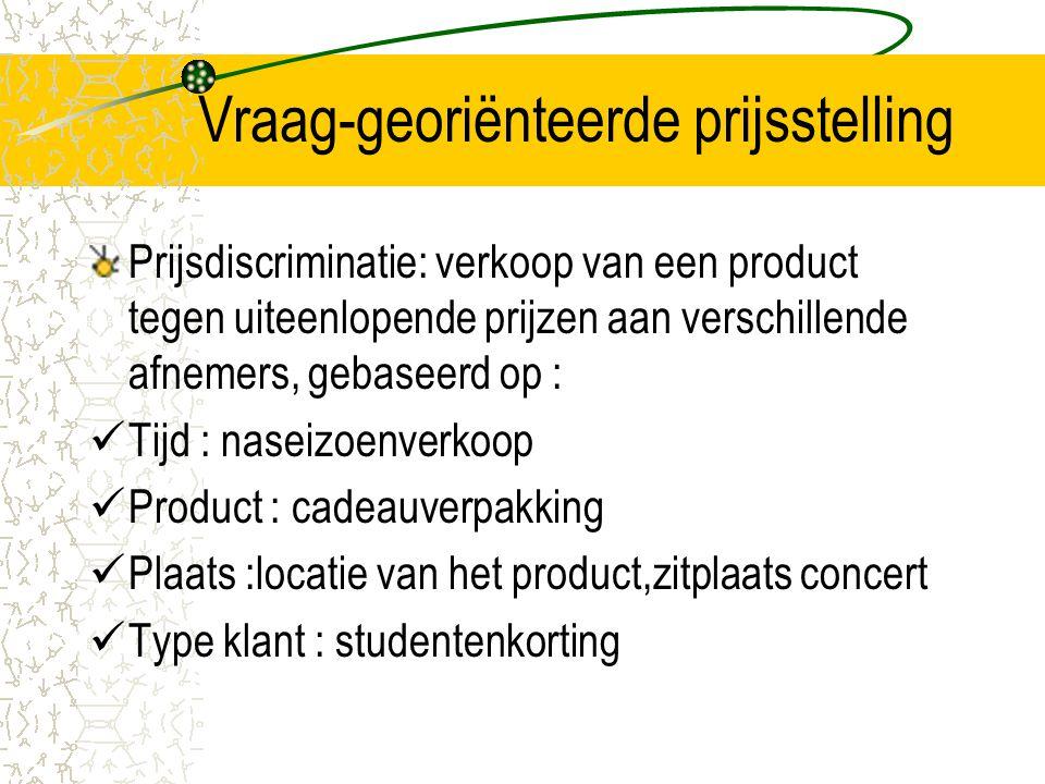 Vraag-georiënteerde prijsstelling Prijsdiscriminatie: verkoop van een product tegen uiteenlopende prijzen aan verschillende afnemers, gebaseerd op : T