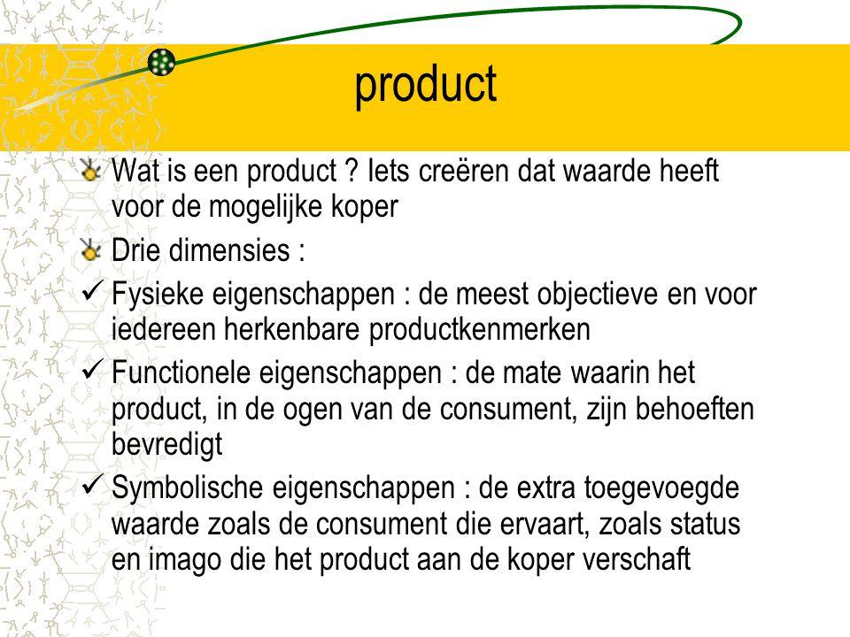 product Wat is een product ? Iets creëren dat waarde heeft voor de mogelijke koper Drie dimensies : Fysieke eigenschappen : de meest objectieve en voo