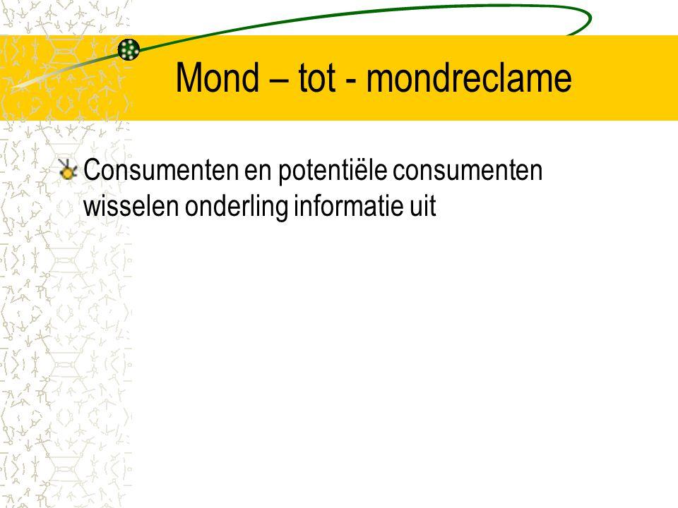 Mond – tot - mondreclame Consumenten en potentiële consumenten wisselen onderling informatie uit