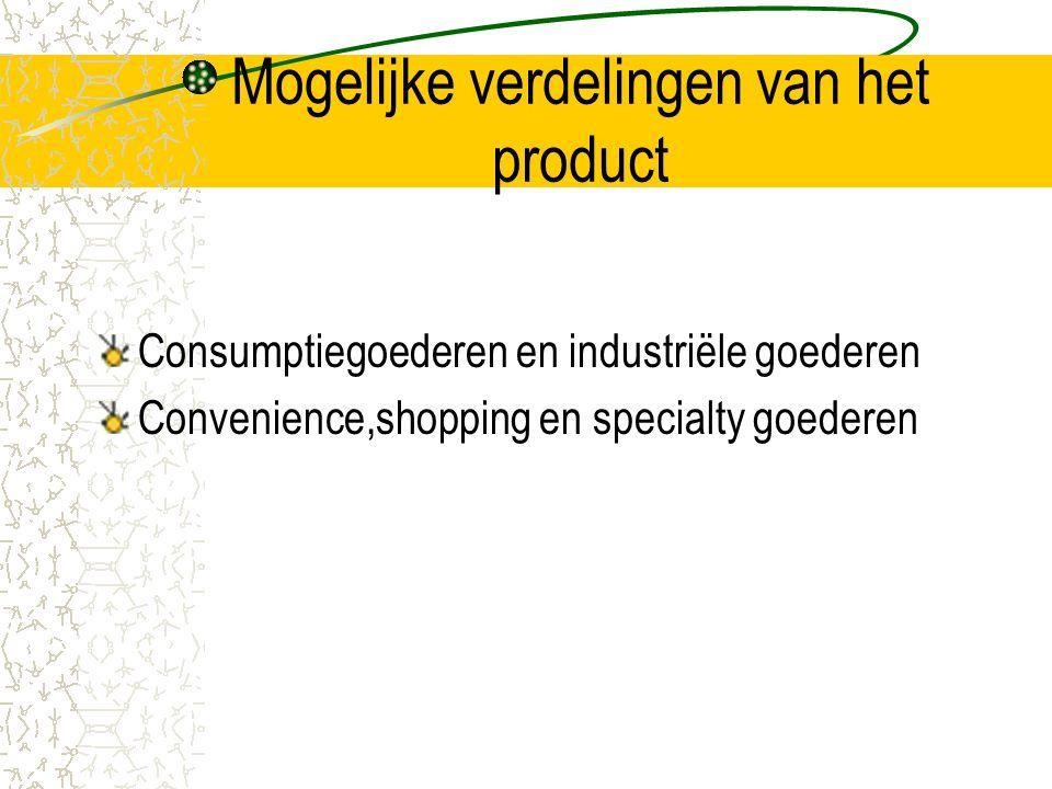 Mogelijke verdelingen van het product Consumptiegoederen en industriële goederen Convenience,shopping en specialty goederen
