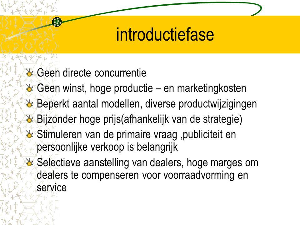 introductiefase Geen directe concurrentie Geen winst, hoge productie – en marketingkosten Beperkt aantal modellen, diverse productwijzigingen Bijzonde