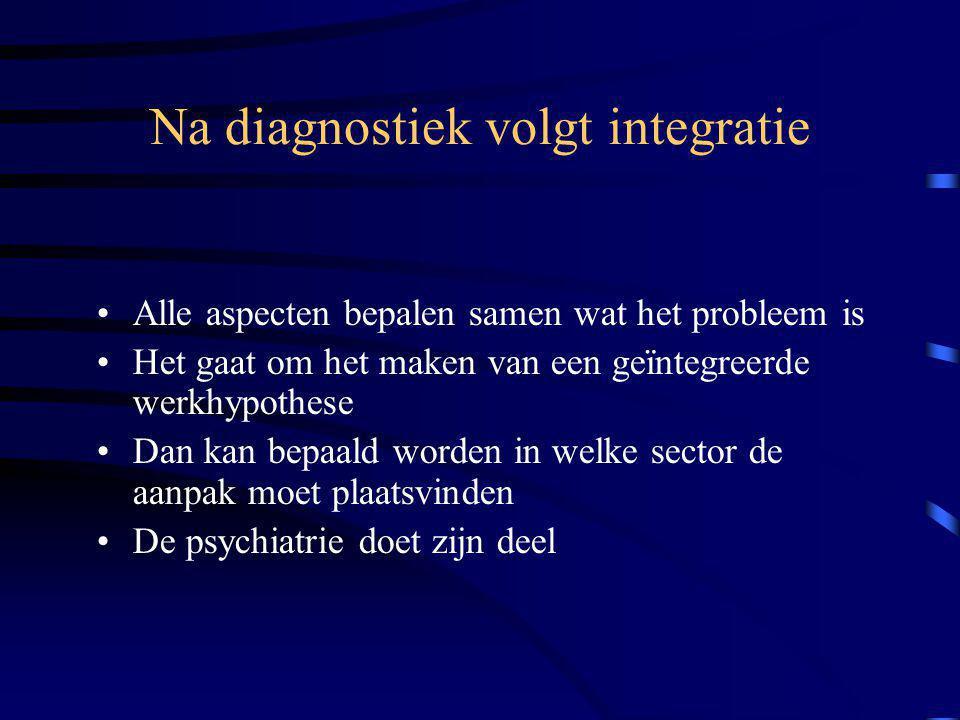 Na diagnostiek volgt integratie Alle aspecten bepalen samen wat het probleem is Het gaat om het maken van een geïntegreerde werkhypothese Dan kan bepaald worden in welke sector de aanpak moet plaatsvinden De psychiatrie doet zijn deel