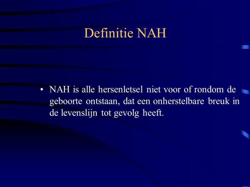 Definitie NAH NAH is alle hersenletsel niet voor of rondom de geboorte ontstaan, dat een onherstelbare breuk in de levenslijn tot gevolg heeft.
