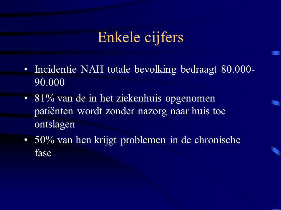 Enkele cijfers Incidentie NAH totale bevolking bedraagt 80.000- 90.000 81% van de in het ziekenhuis opgenomen patiënten wordt zonder nazorg naar huis toe ontslagen 50% van hen krijgt problemen in de chronische fase
