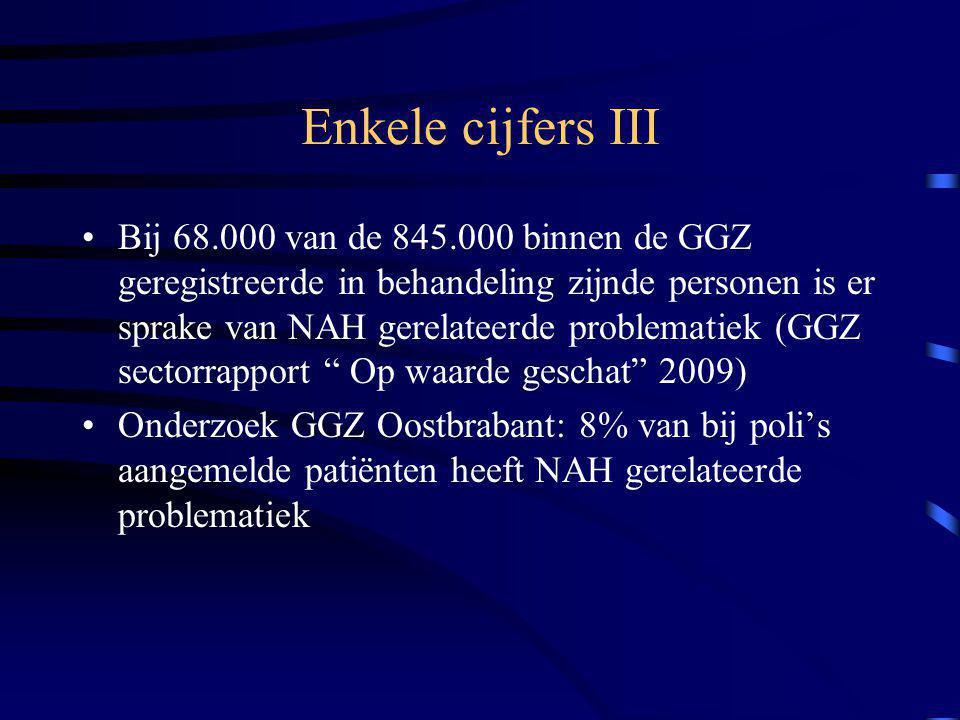 Enkele cijfers III Bij 68.000 van de 845.000 binnen de GGZ geregistreerde in behandeling zijnde personen is er sprake van NAH gerelateerde problematiek (GGZ sectorrapport Op waarde geschat 2009) Onderzoek GGZ Oostbrabant: 8% van bij poli's aangemelde patiënten heeft NAH gerelateerde problematiek