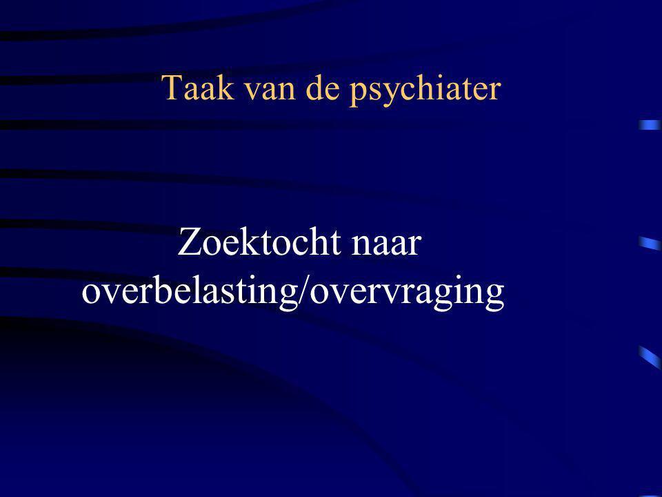 Taak van de psychiater Zoektocht naar overbelasting/overvraging