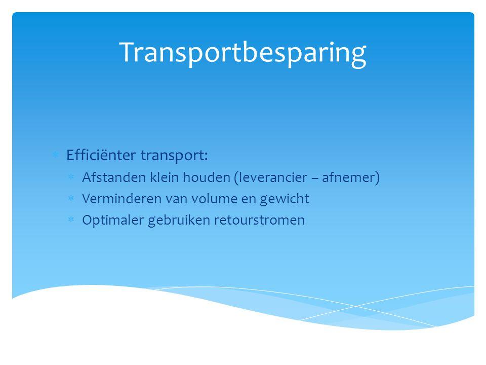 Transportbesparing  Efficiënter transport:  Afstanden klein houden (leverancier – afnemer)  Verminderen van volume en gewicht  Optimaler gebruiken