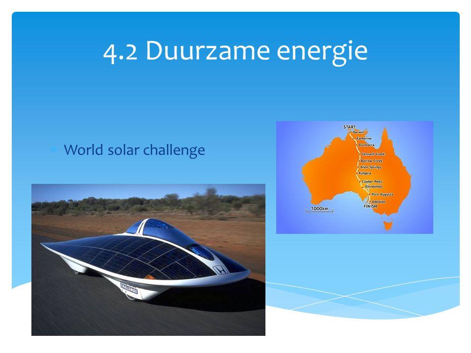 4.2 Duurzame energie  World solar challenge