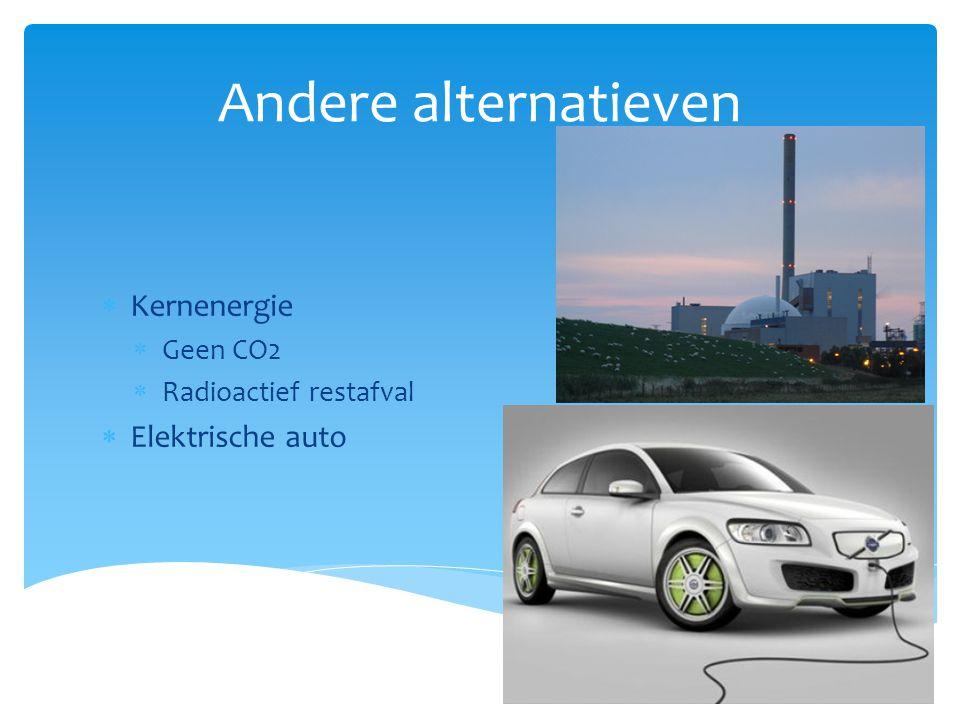 Andere alternatieven  Kernenergie  Geen CO2  Radioactief restafval  Elektrische auto