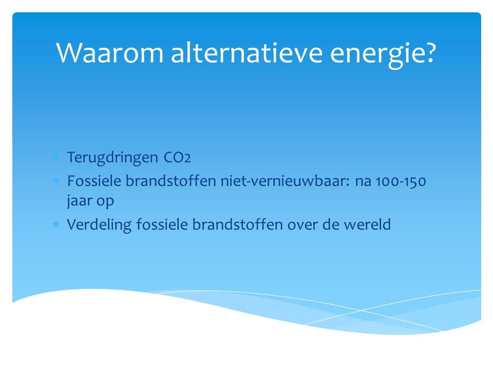 Waarom alternatieve energie?  Terugdringen CO2  Fossiele brandstoffen niet-vernieuwbaar: na 100-150 jaar op  Verdeling fossiele brandstoffen over d