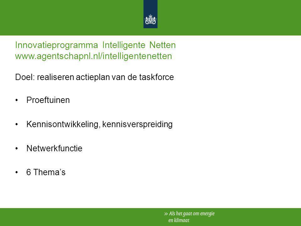 Innovatieprogramma Intelligente Netten www.agentschapnl.nl/intelligentenetten Doel: realiseren actieplan van de taskforce Proeftuinen Kennisontwikkeli