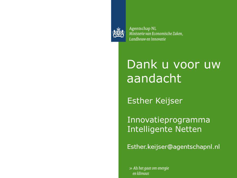Dank u voor uw aandacht Esther Keijser Innovatieprogramma Intelligente Netten Esther.keijser@agentschapnl.nl