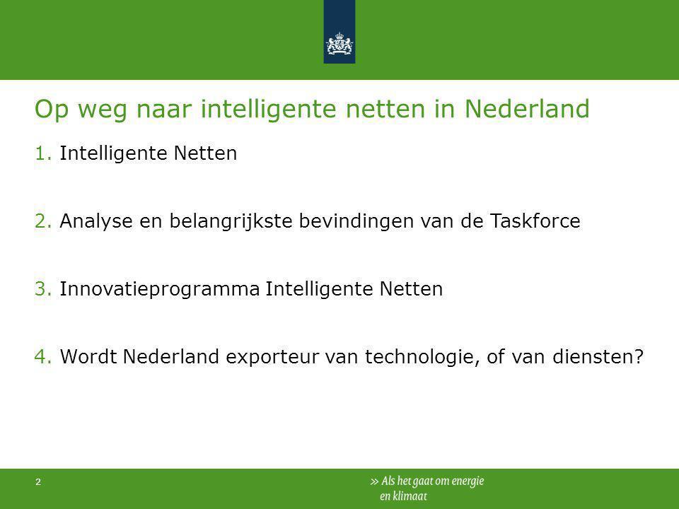 2 Op weg naar intelligente netten in Nederland 1.Intelligente Netten 2.Analyse en belangrijkste bevindingen van de Taskforce 3.Innovatieprogramma Inte