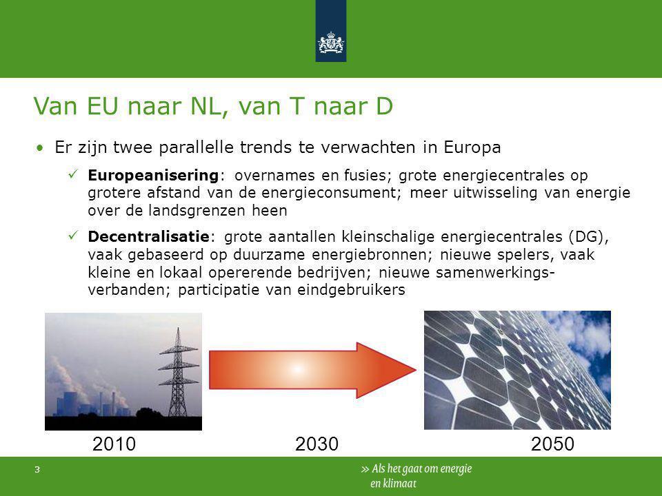 3 Er zijn twee parallelle trends te verwachten in Europa Europeanisering: overnames en fusies; grote energiecentrales op grotere afstand van de energi