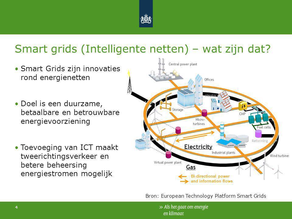 4 Smart grids (Intelligente netten) – wat zijn dat? Smart Grids zijn innovaties rond energienetten Doel is een duurzame, betaalbare en betrouwbare ene