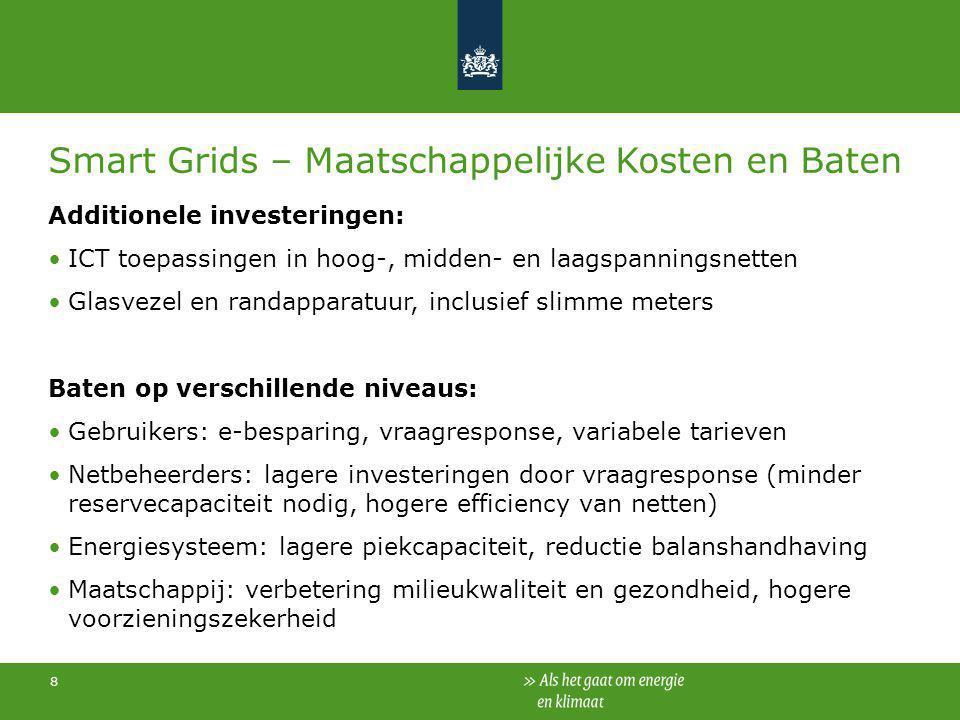 8 Smart Grids – Maatschappelijke Kosten en Baten Additionele investeringen: ICT toepassingen in hoog-, midden- en laagspanningsnetten Glasvezel en ran