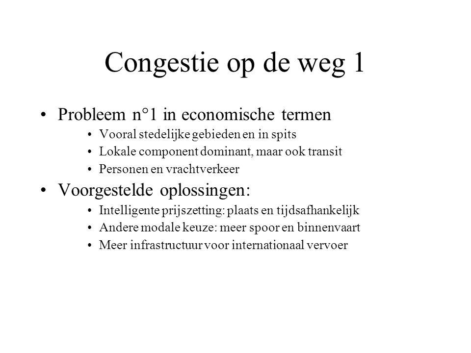 Congestie op de weg 1 Probleem n°1 in economische termen Vooral stedelijke gebieden en in spits Lokale component dominant, maar ook transit Personen e