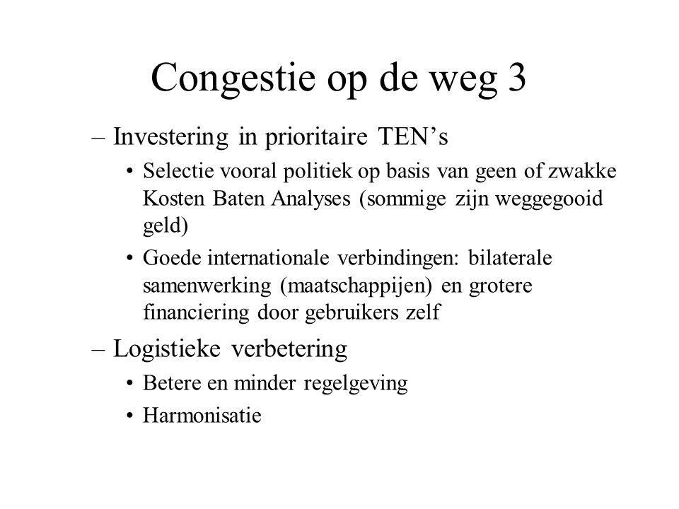 Congestie op de weg 3 –Investering in prioritaire TEN's Selectie vooral politiek op basis van geen of zwakke Kosten Baten Analyses (sommige zijn wegge