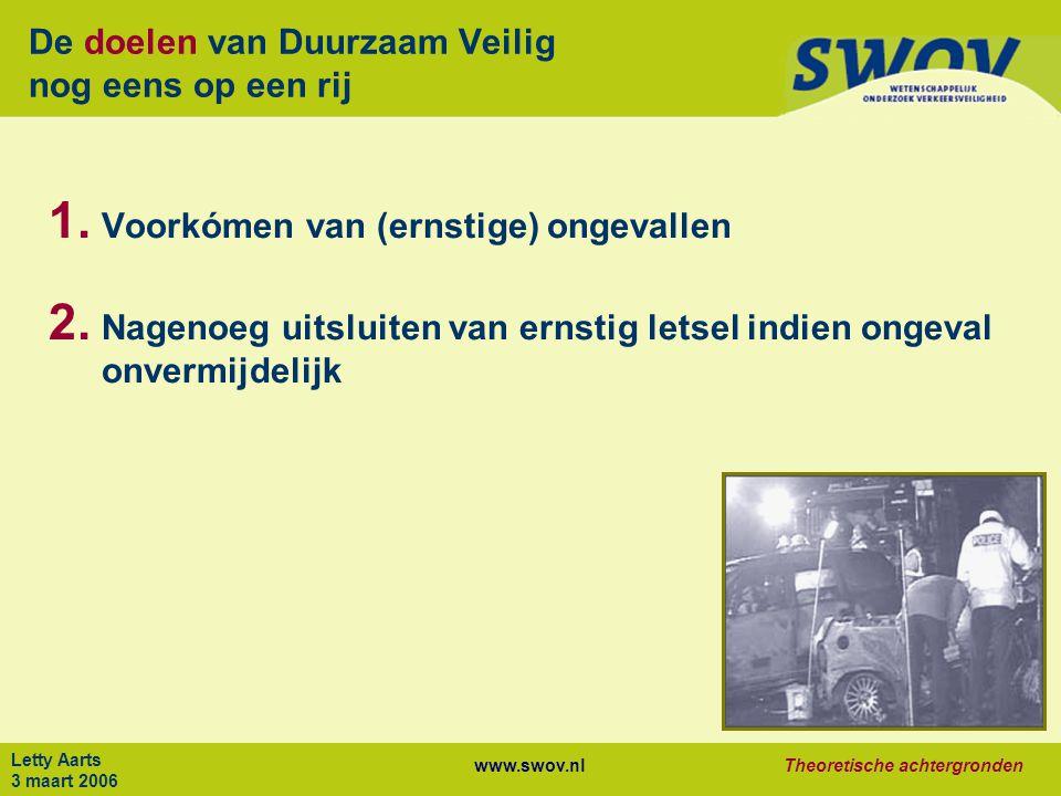 www.swov.nlTheoretische achtergronden Letty Aarts 3 maart 2006 De doelen van Duurzaam Veilig nog eens op een rij 1.