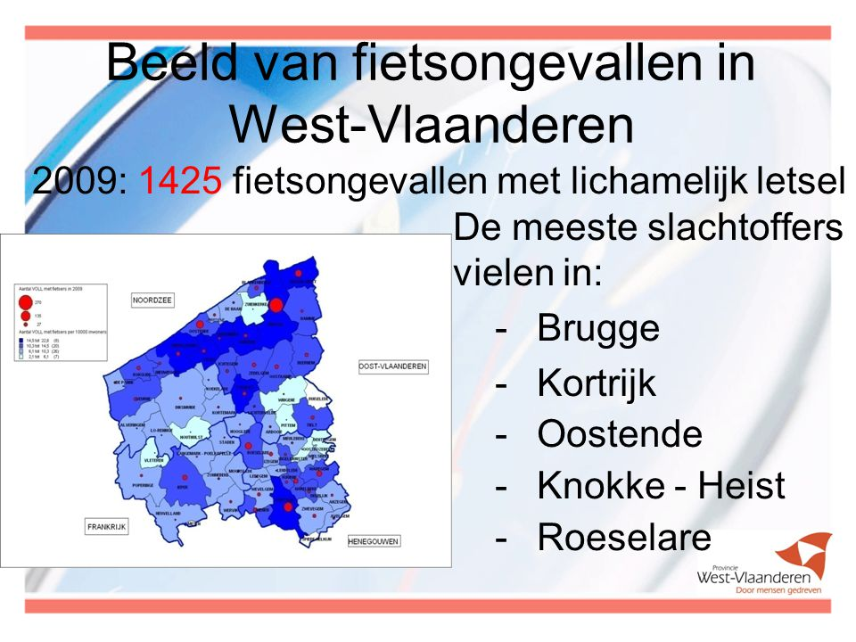 2009: 1425 fietsongevallen met lichamelijk letsel De meeste slachtoffers vielen in: -Brugge -Kortrijk -Oostende -Knokke - Heist -Roeselare Beeld van fietsongevallen in West-Vlaanderen
