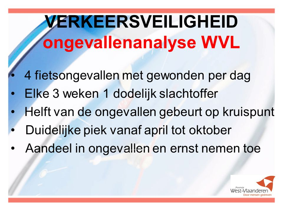 VERKEERSVEILIGHEID ongevallenanalyse WVL 4 fietsongevallen met gewonden per dag Elke 3 weken 1 dodelijk slachtoffer Helft van de ongevallen gebeurt op