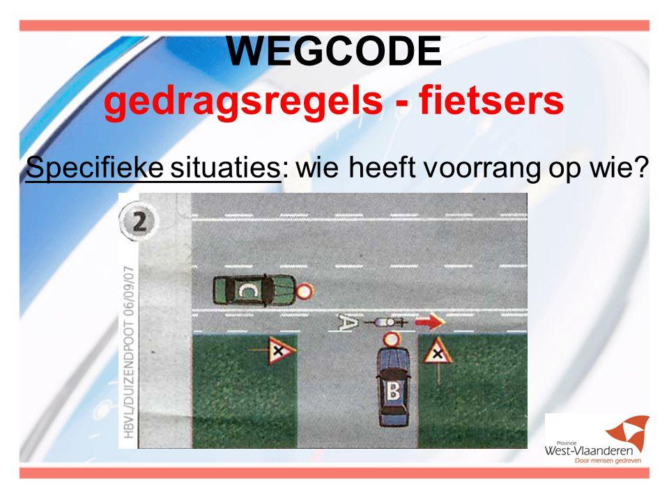 WEGCODE gedragsregels - fietsers Specifieke situaties: wie heeft voorrang op wie