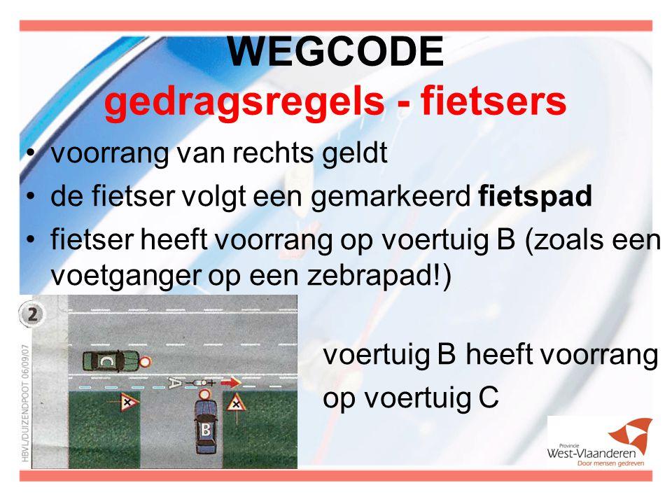 WEGCODE gedragsregels - fietsers voorrang van rechts geldt de fietser volgt een gemarkeerd fietspad fietser heeft voorrang op voertuig B (zoals een voetganger op een zebrapad!) voertuig B heeft voorrang op voertuig C