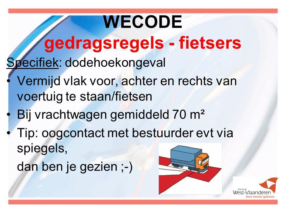 WECODE gedragsregels - fietsers Specifiek: dodehoekongeval Vermijd vlak voor, achter en rechts van voertuig te staan/fietsen Bij vrachtwagen gemiddeld 70 m² Tip: oogcontact met bestuurder evt via spiegels, dan ben je gezien ;-)