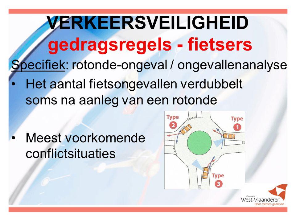 VERKEERSVEILIGHEID gedragsregels - fietsers Specifiek: rotonde-ongeval / ongevallenanalyse Het aantal fietsongevallen verdubbelt soms na aanleg van ee
