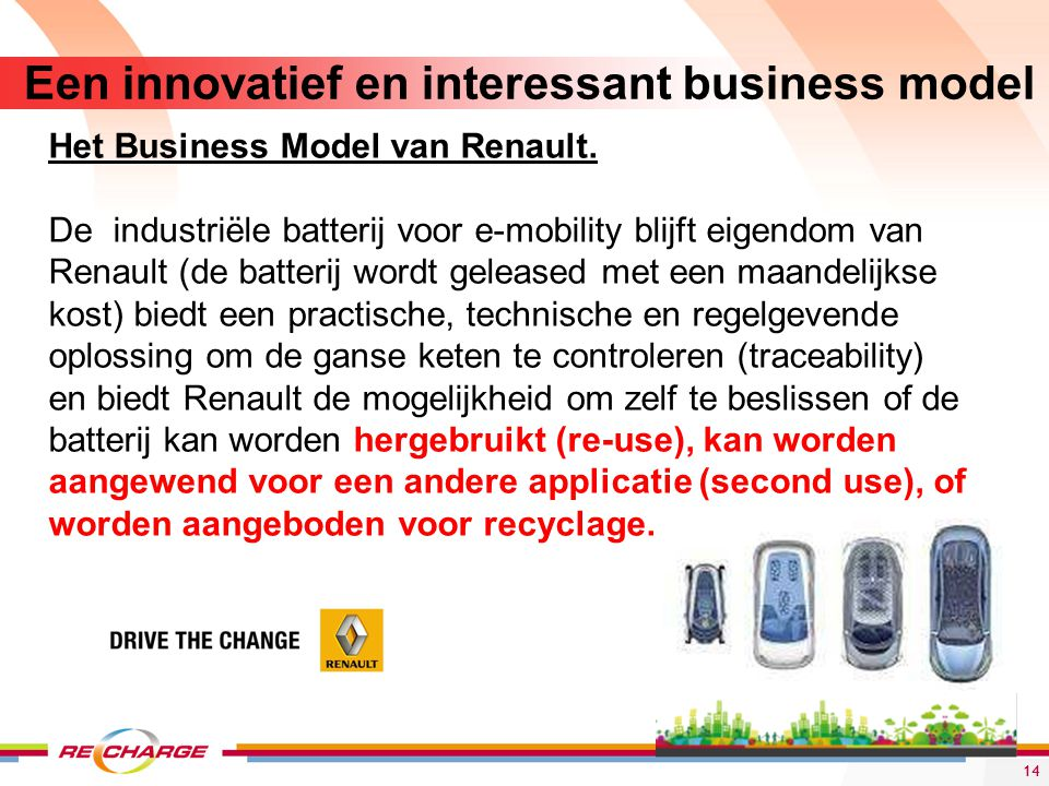Een innovatief en interessant business model 14 Het Business Model van Renault. De industriële batterij voor e-mobility blijft eigendom van Renault (d