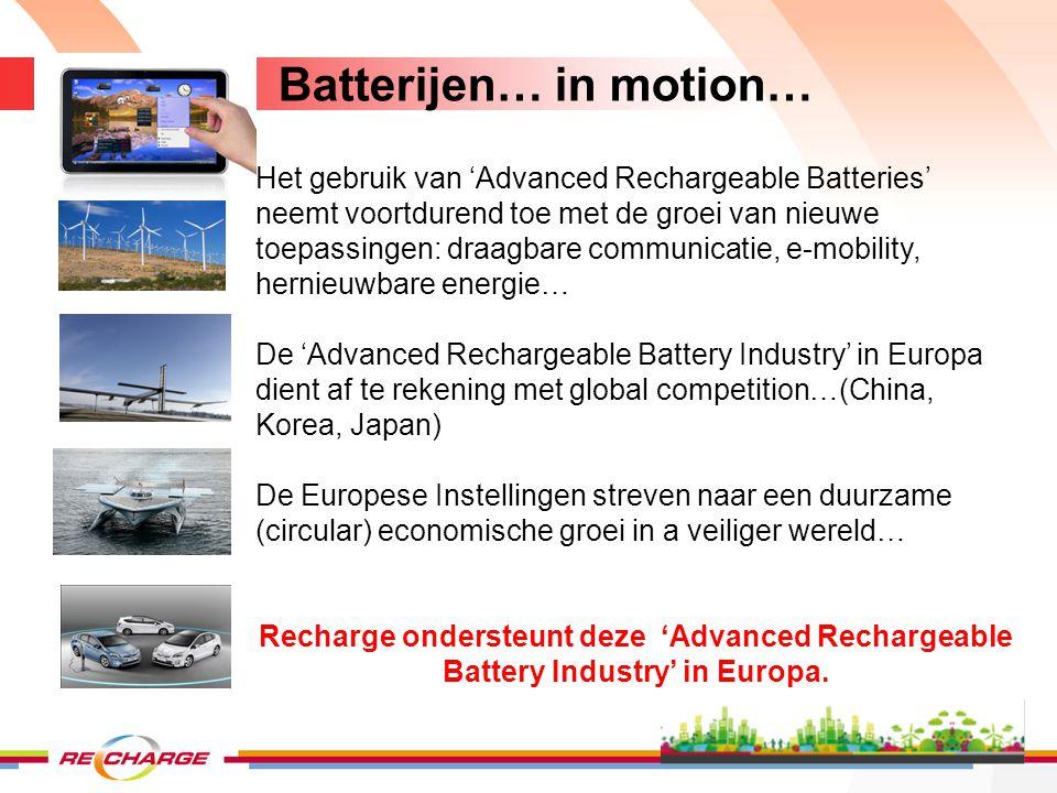 Batterijen - definities EU Richtlijn 2006/66/EC 1.Portable batterij – batterij, button cell, batterij pack welke is gesloten (sealed), is draagbaar, is noch een industriële noch een automotive batterij 2.Automotive batterij – batterij gebruikt voor automotive starten, verlichting and ignition power (SLI) 3.Industrial batterij – battery voor uitsluitend industrieel of professioneel gebruik of gebruikt in elk type electrisch voertuig (HEV – PHEV – EV) Voorbeelden van industriële batterijen: Batterijen gebruikt in electrische auto's, electrische fietsen, wheelchairs, luchthaven voertuigen and automatische transport voertuigen 4