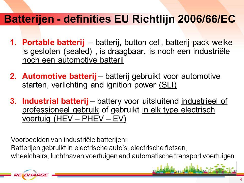 15 Batterij recyclage - enkele overwegingen De uitdagingen omtrent de recyclage van Lithium-Ion batterijen liggen vooral op economisch vlak.