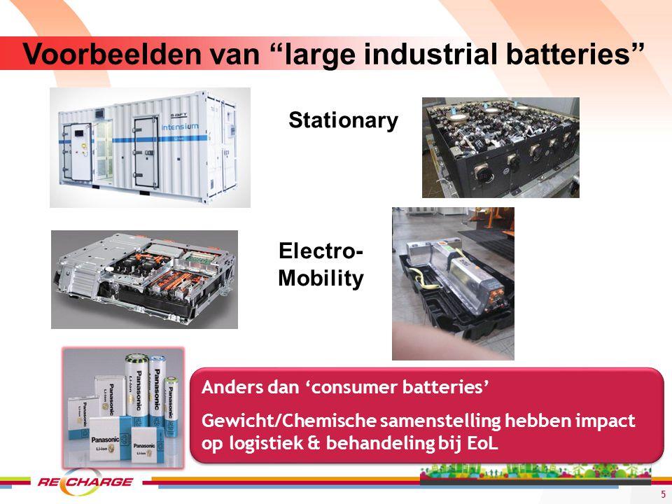 """Voorbeelden van """"large industrial batteries"""" Stationary Electro- Mobility 5 Anders dan 'consumer batteries' Gewicht/Chemische samenstelling hebben imp"""