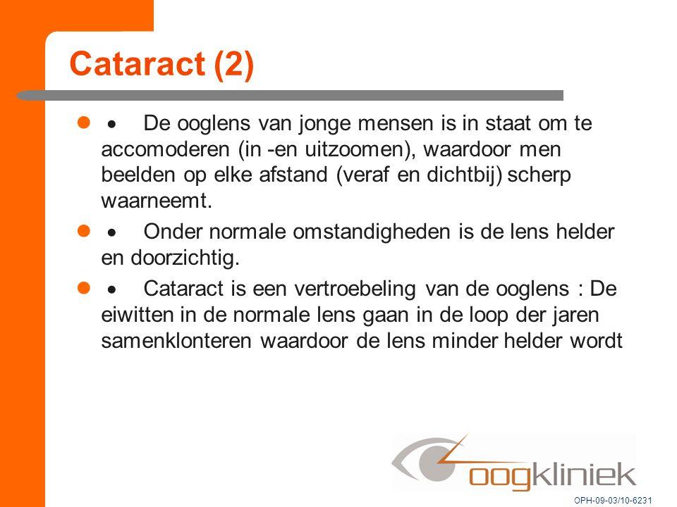 Cataract (2)  De ooglens van jonge mensen is in staat om te accomoderen (in -en uitzoomen), waardoor men beelden op elke afstand (veraf en dichtbij) scherp waarneemt.