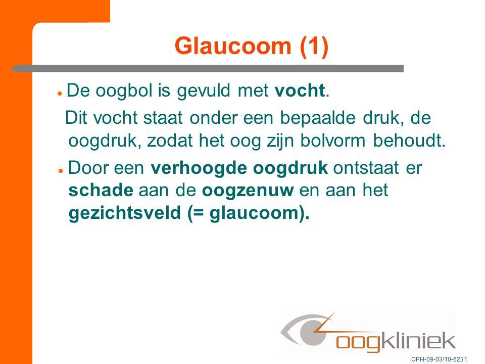 Glaucoom (1)  De oogbol is gevuld met vocht. Dit vocht staat onder een bepaalde druk, de oogdruk, zodat het oog zijn bolvorm behoudt.  Door een verh